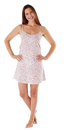 Inspirations Womens Nightdress Chemise Strappy Nightie 100% Cotton Nightwear  Slip Ladies Size (8- f979870f77b7