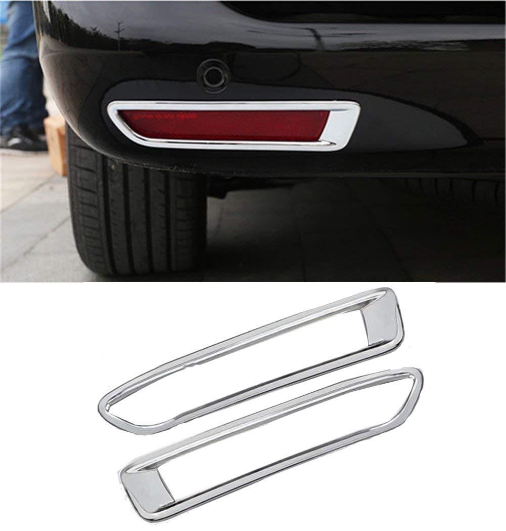 Autohelper 2pcs ABS Chrome Rear Tail Fog Light Lamp Bezel Decoration Cover Trim