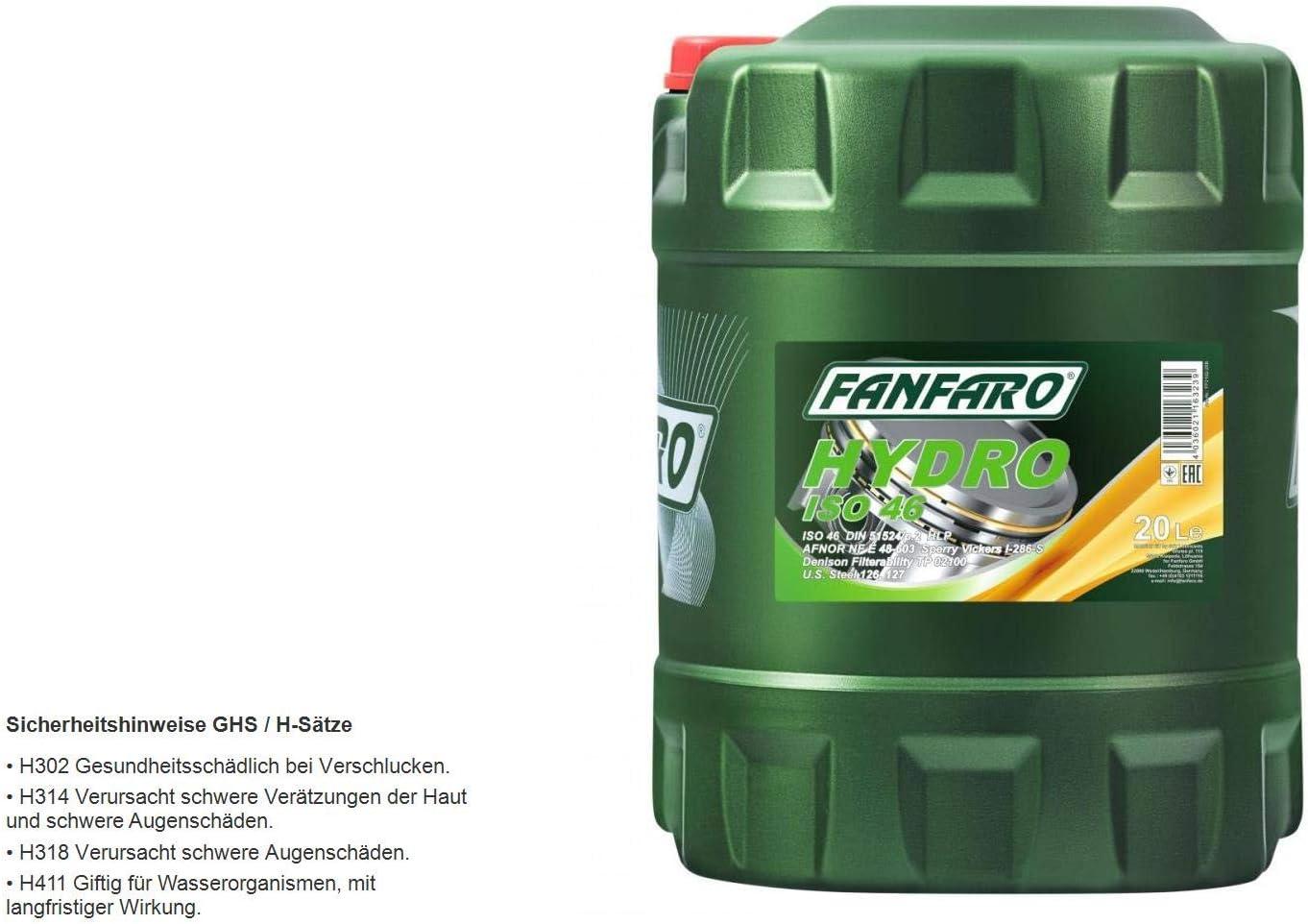 1 X 20 L Fanfaro Hydro Iso Vg 46 Hydraulic Oil Hlp Auto