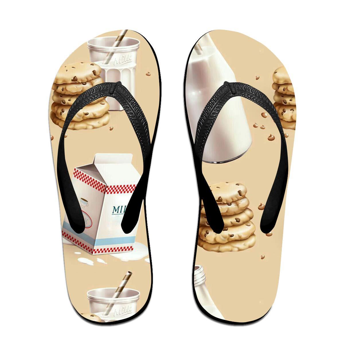 Couple Slipper Milk Cookies Pattern Print Flip Flops Unisex Chic Sandals Rubber Non-Slip Spa Thong Slippers