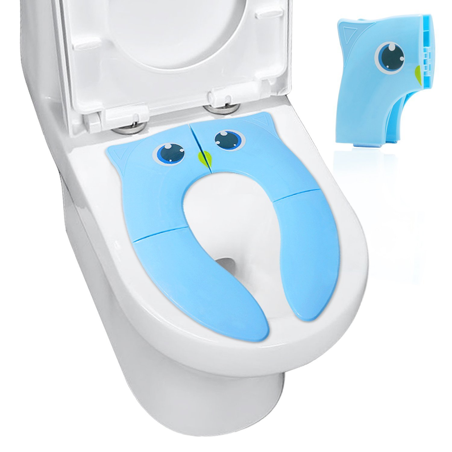 Potty Training Seat Potable Reusable - Folding Toddler Toilet Seat Cover with Non Slip Silicone Pads for Girl Boys FRETOD