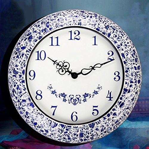 Luxurious Classic Wall Clock, 18 Inch Living Room Decorated Wall Clock, Creative Fashion Blue And White Porcelain Art Mute Clock by GFL