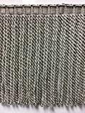 """9"""" Faux Silk Fancy Header, Highiest Quality Bullion Fringe Trim BUF-9/50-4 (Silver & Taupe (Sold by the yard)"""