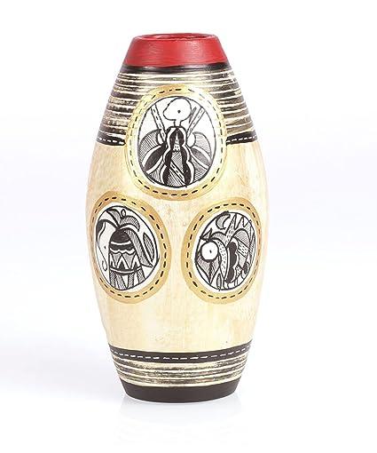 Buy Vareesha Simmer Gold Terracotta Vase For Home Decortable Decor