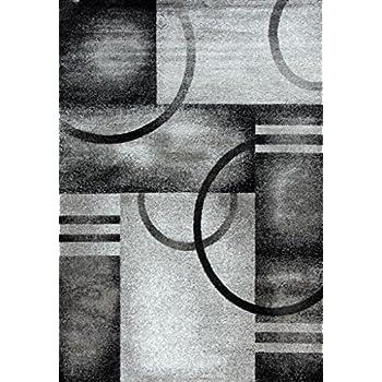 Amazoncom 1052 Gray Beige Ivory Black 52x72 Area Rug Abstract