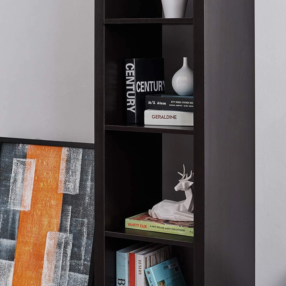 Black Panana 4-Tier Tall Wooden Bookcase Bookshelf Display Shelving Unit Storage Rack for Home Office