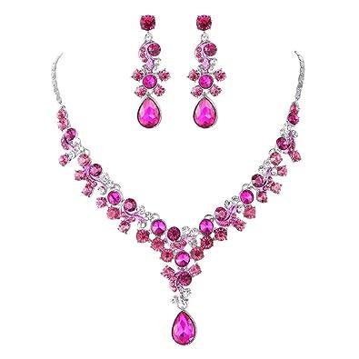 Glamour Bridal Jewellery Set Earrings Necklace Bracelet Rhinestone Crystal Clear Acrylic Pink 17WsHcw