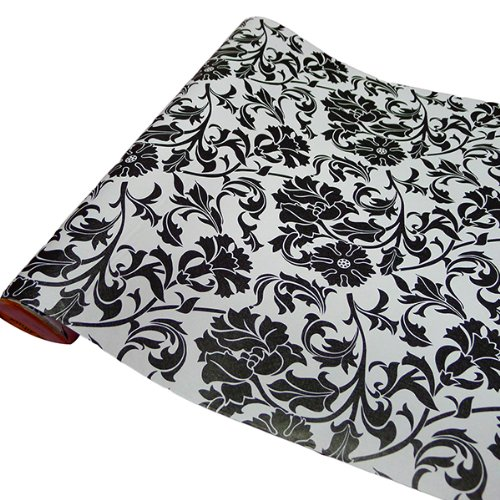 Bestofferbuy papel contact estampado de flores negras for Papel pared autoadhesivo