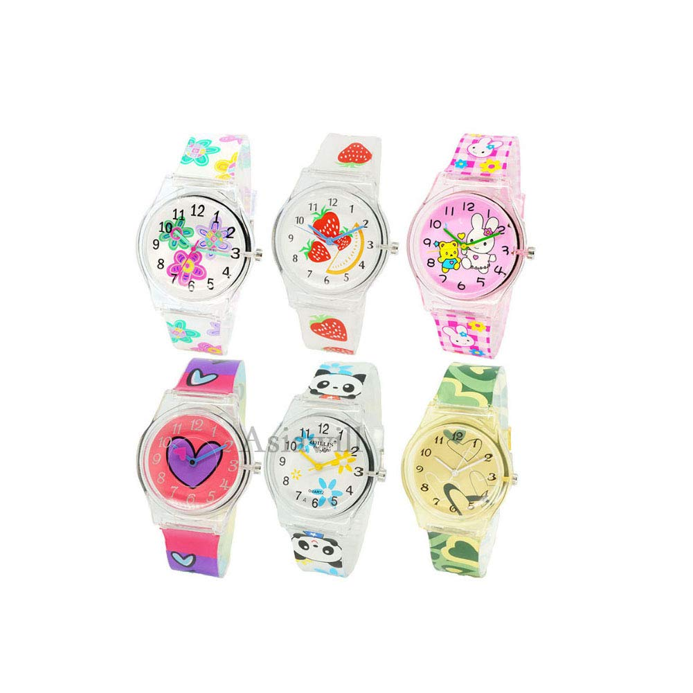 Asiawill 6 Pack Cute Girls Watches Analog Quartz Wrist Watch Cartoon Children Watch by Asiawill