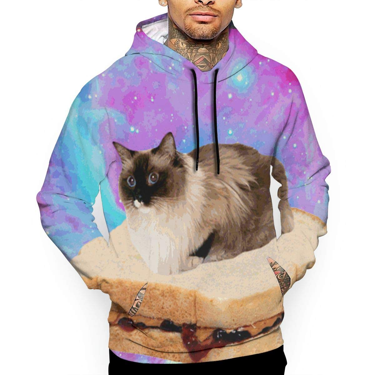 Welcome to The Cat Space Mans Long Sleeve Hoodie Casual Pocket Hooded Sweatshirt