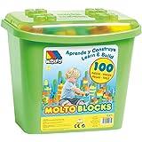 Molto les blocs de boîte avec 100Jeu de construction briques, couleurs assorties
