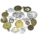 30pcs Mixed Antique Bronze/Antique Silver Clock Faces, DIY Crafts, Jewelry Making, Steampunk Pendants