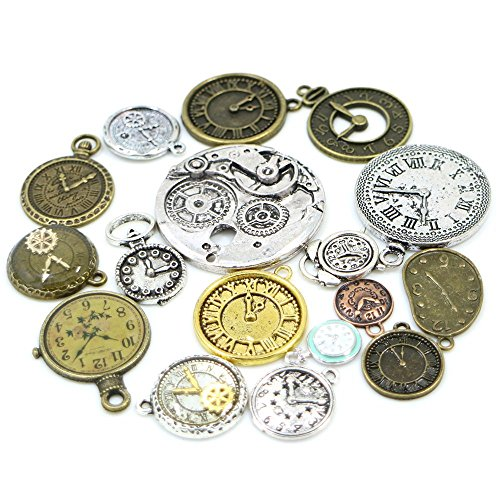 30pcs Mixed Antique Bronze/Antique Silver Clock Faces, DIY Crafts, Jewelry Making, Steampunk - Mixed Antique