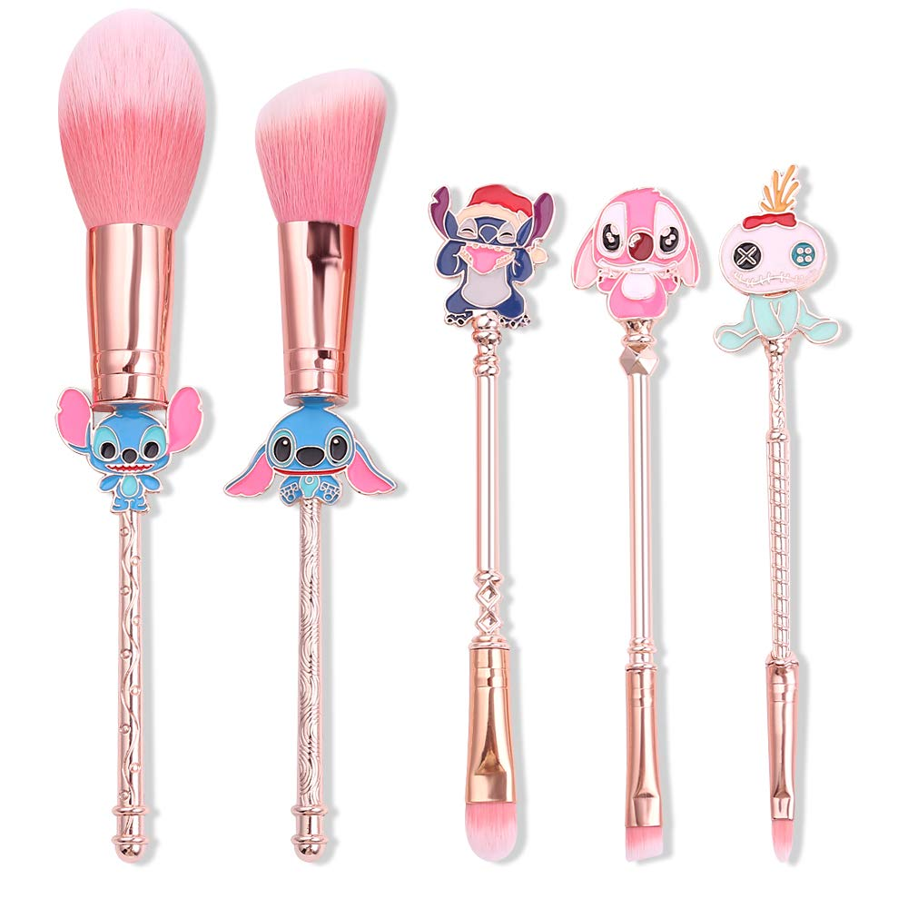 Interstellar Baby Makeup Brushes 5Pcs Set Creative Stitch Theme Cosmetic Brushes Set, Premium Synthetic Foundation Eyeshades Brush Set Best Gift for Young Girls