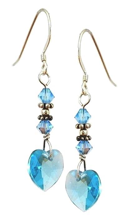 40e4680f5 Amazon.com: Cherityne Aqa Blue Swarovski Heart Silver DangleEarrings ...