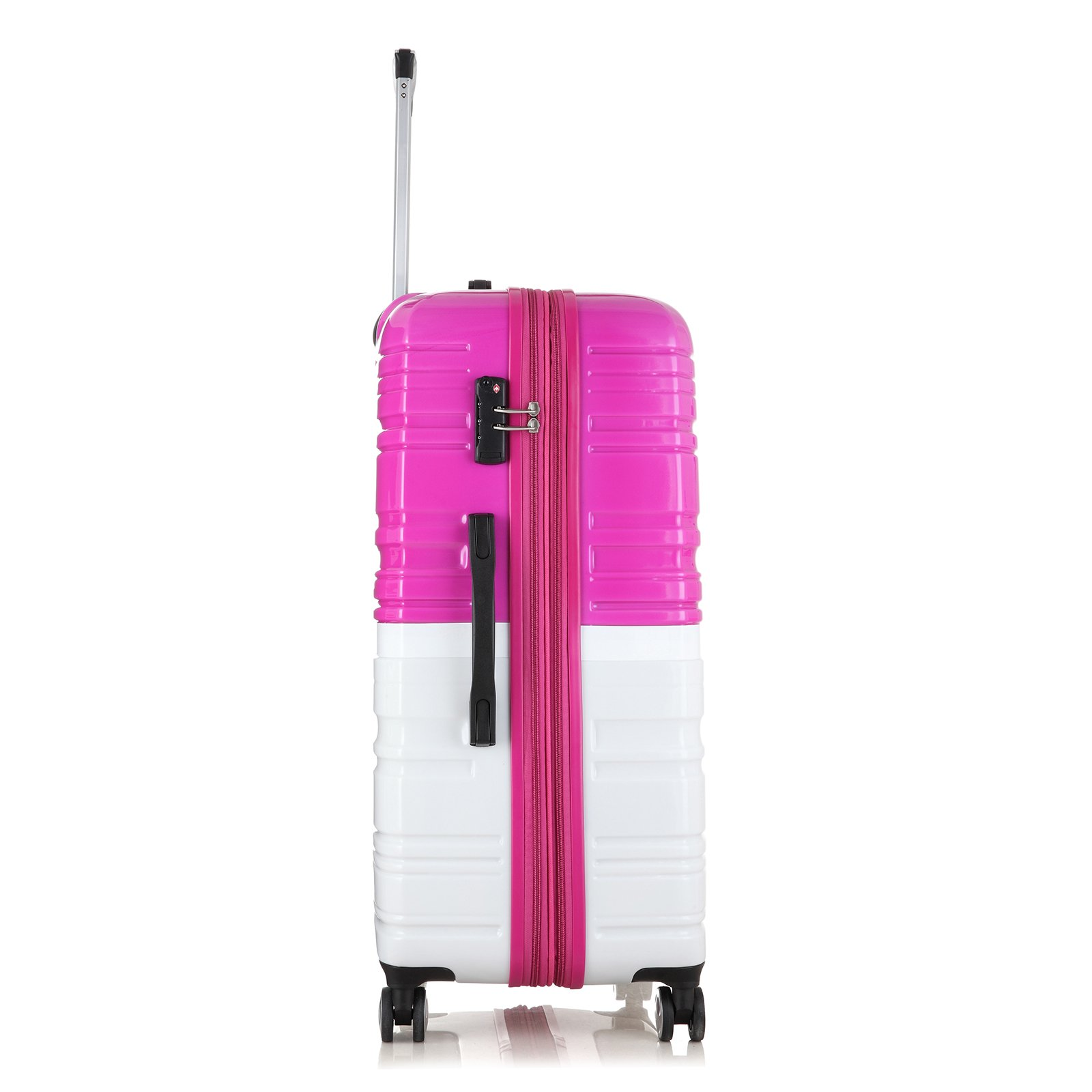 2 Pack Love Box[Boy and girl,daddy and boy,mommy and girl] 20''-28'' Luggage 360° Spinner Wheels Trolley Suitcase TSALock Travel Carryon Bag Hardside Travelhouse (Pink+White) by Chiuer (Image #4)
