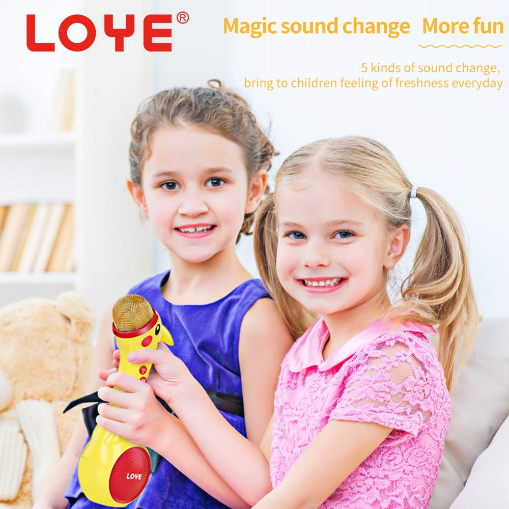 LOYE Wireless Bluetooth Karaoke Microphone Magic Sound for Kids Toddles Baby Child Children 2 in 1 Portable Handheld Home Party Speaker with TF Card Birthday New Year by LOYE (Image #7)