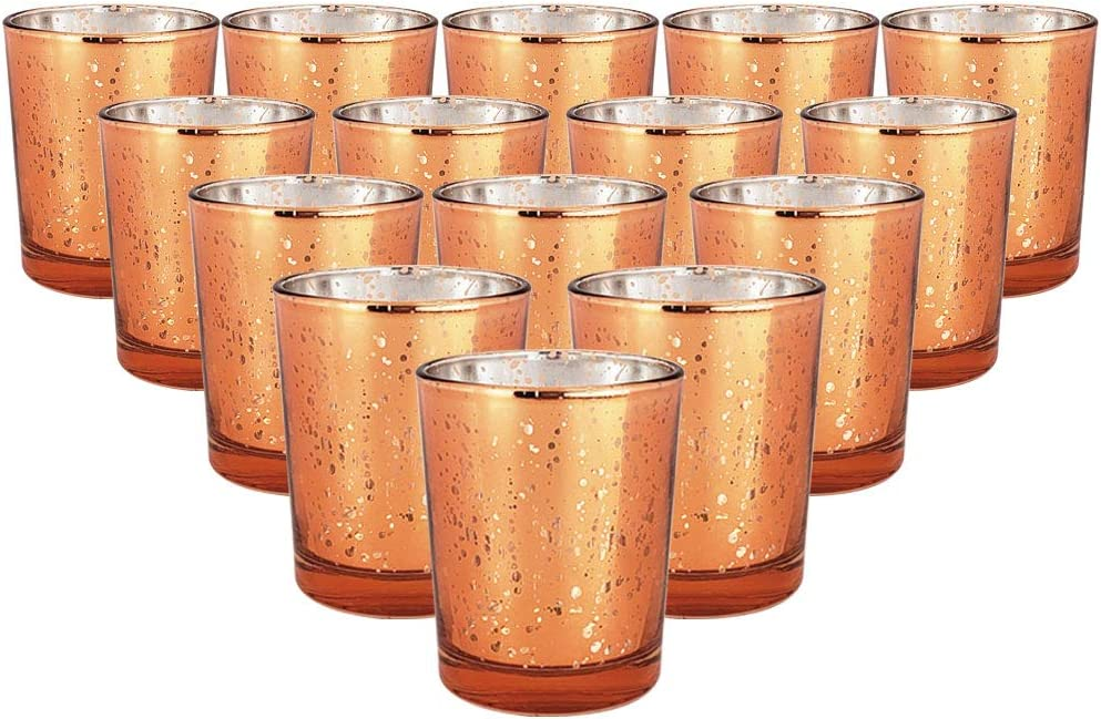 Just Artifacts Mercury Glass Votive Candle Holder 2.75-Inch (15pcs, Speckled Copper) - Mercury Glass Votive Tealight Candle Holders for Weddings, Parties and Home Décor