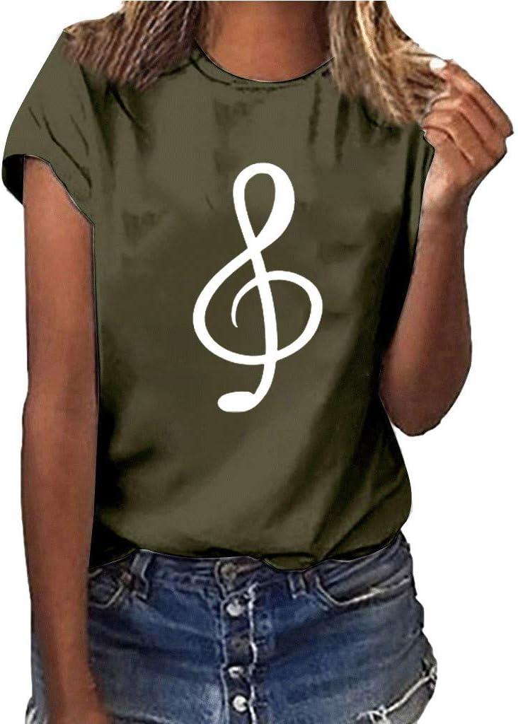 Keepwin ¡Nueva!Camisetas Cortas Manga Corta Mujer Estampadas Camisetas Anchas Remeras Camisa para Mujer Deporte Verano Poleras Top Blusas De SeñOra Musical T Shirt (Ejercito Verde,M): Amazon.es: Deportes y aire libre