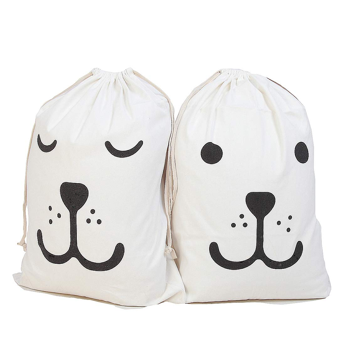 MeliUp Cute Large Canvas Storage Bag -2Pcs Drawstring Tote Bagsfor Clothing, Toys, Books, Gift Baskets, Closet Storage(Creamy White)