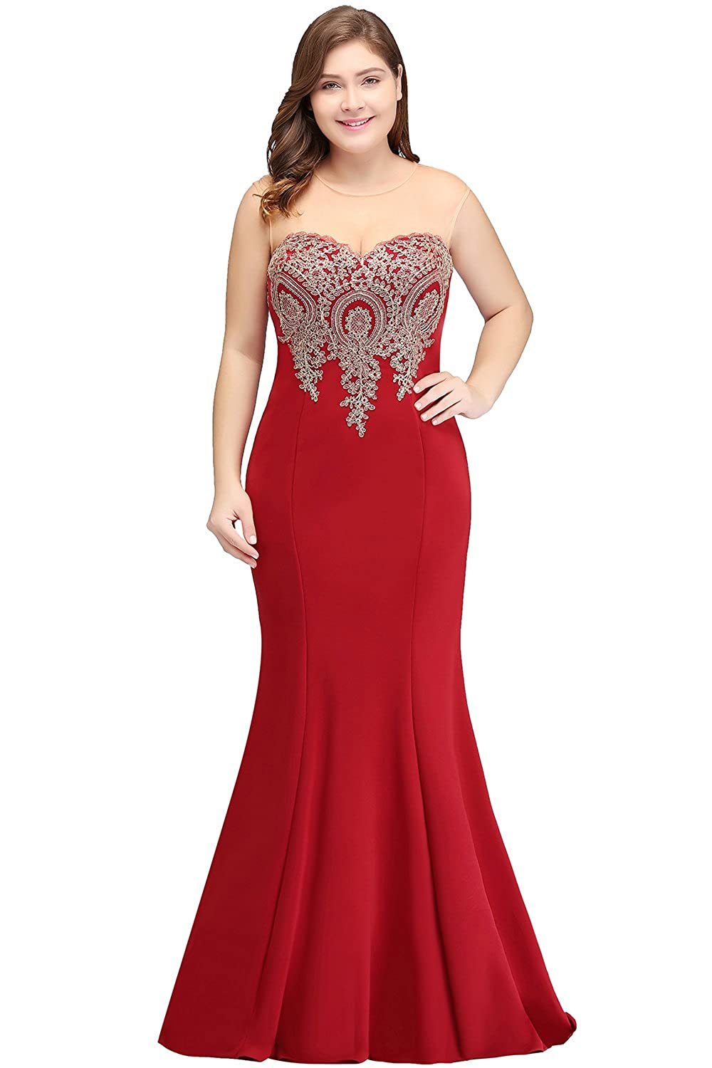 e762937358458 Babyonlinedress Plus Size Gold Lace Mermaid Prom Dress Long Cocktail  Evening Formal Dresses at Amazon Women s Clothing store