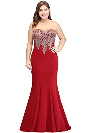 Babyonlinedress Womens Lace Appliques Maxi Long Mermaid Burgundy Bridesmaid Dress Plus Size 14W