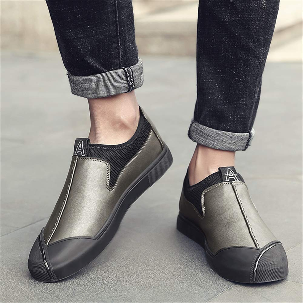 TongLing Mens Fashion Oxford Casual Personality Stitching Low Top Slip On Formal Shoes Dress Shoes