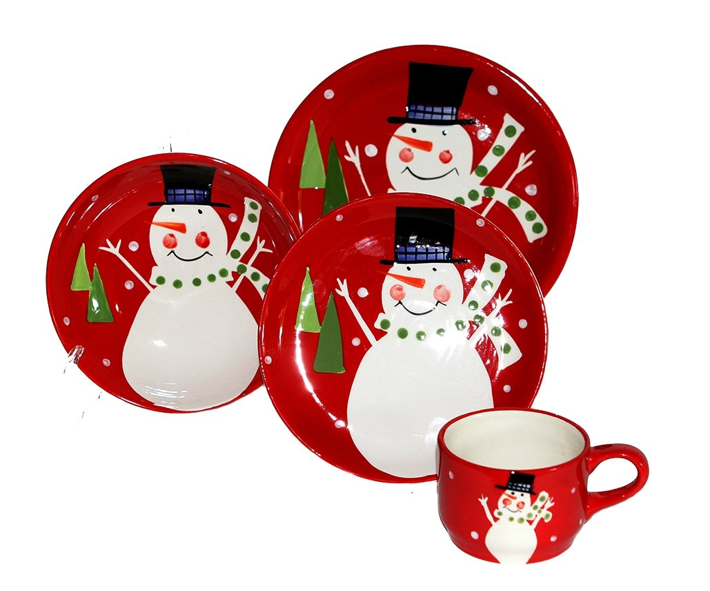 Amazon.com | Christmas Snowman Collection Ceramic Hand Painted 16-Piece Dinner Set 87216and by ACK Dinnerware Sets Dinnerware Sets  sc 1 st  Amazon.com & Amazon.com | Christmas Snowman Collection Ceramic Hand Painted 16 ...