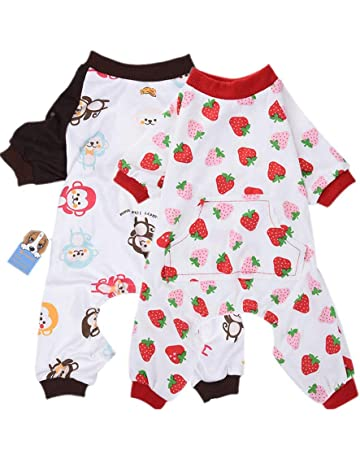 d0557bd46 HongYH 2-pack Dog Clothes Dogs Cats Onesie Soft Dog Pyjamas Cotton Puppy  Rompers Pet