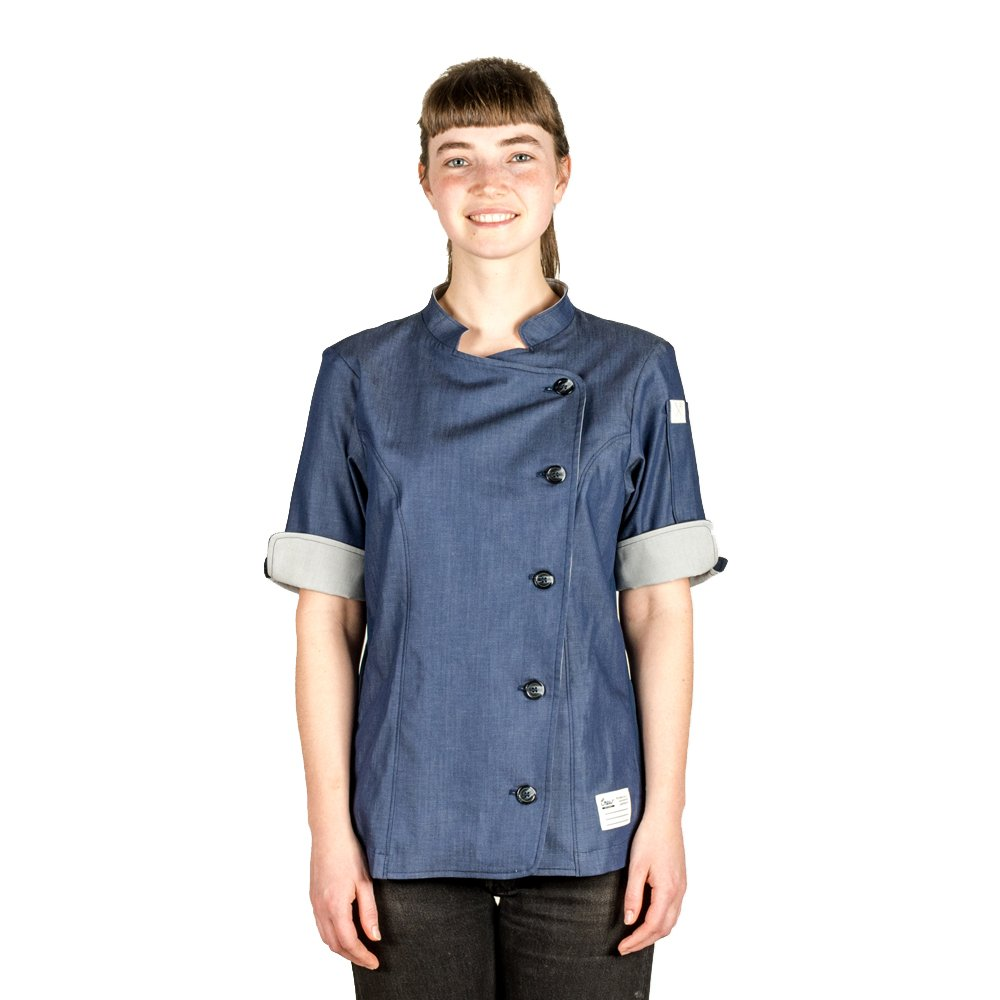 Crew Apparel Women's Chef Coat The Stephany Made in America (X-Large, Navy)