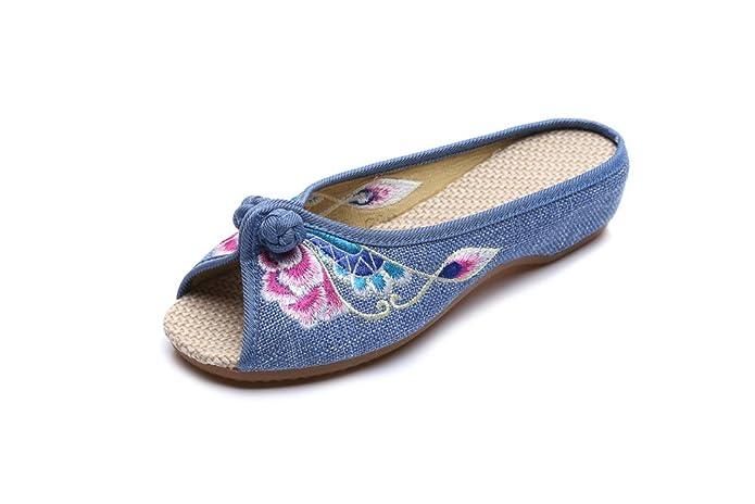 KAFEI Frauen bestickte Schuhe Denim Freizeitaktivitäten Rinder erhöhte Sehne am Ende eines Wortes Fisch Mund flach mit, 40, Blau