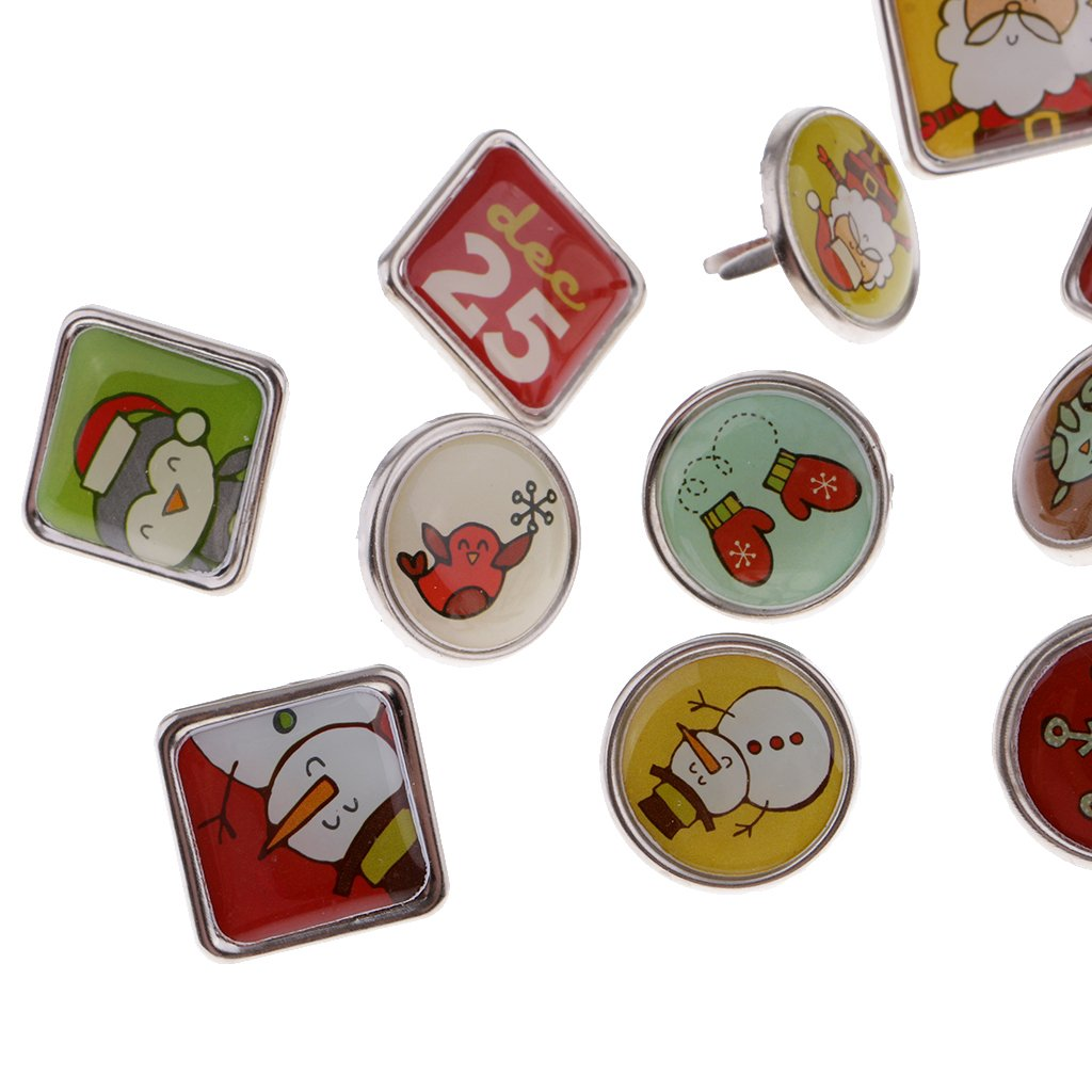 Dovewill 12 Pieces Christmas Santa Snowman Metal Brads Paper Fasteners for Office Scrapbook Paper Craft 20mm