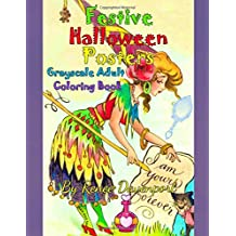 Festive Halloween Posters Grayscale Adult Coloring Book