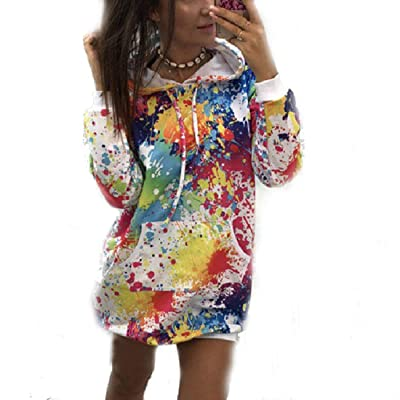 3D Printed-Hoodies-Dress Cotton for Women Colorful Long Sleeve Hooded Sweatshirt Dress with Pockets: Clothing
