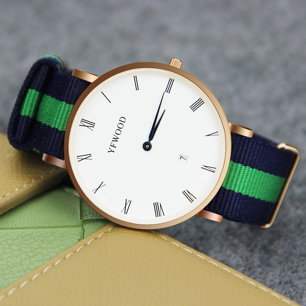 Quartz Watch Nylon Band Unisex Wrist Watch Classic Casual Waterproof Watch Round Dial Business Watch by THAITOO (Image #2)
