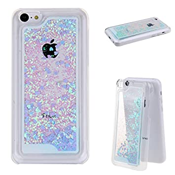 new arrival fb907 1f8ed Dealspank® Glitter Case for iPhone 5C, 3D Flowing Glitter Hearts Bling  Quicksand Liquid Case Protective Clear Hard Case Cover for iPhone 5C ...
