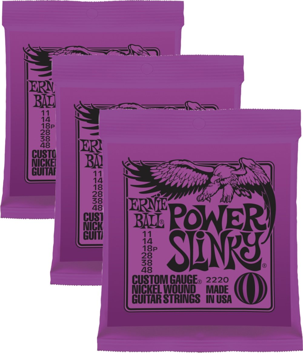 Ernie Ball Power Slinky Nickel Wound Sets.011 - .048, Bundle of 3 Sets 2220x3