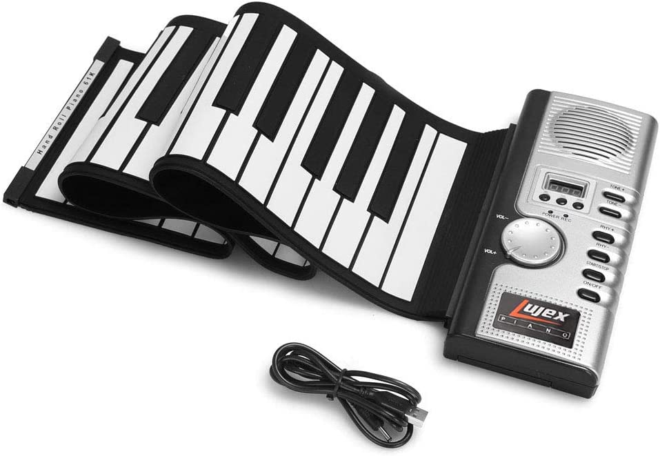 Lujex 61 Keys Roll Up Piano Upgraded Portable Rechargeable Electronic Hand Roll Piano