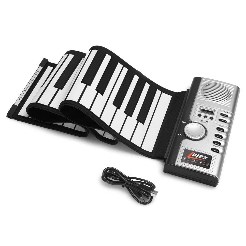 Lujex 61 Keys Roll Up Piano Upgraded Portable Rechargeable Electronic Hand Roll Piano with Environmental Silicone Piano Keyboard for Beginners by Lujex