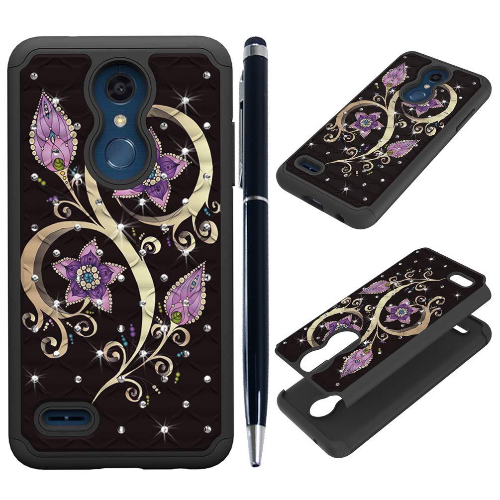Edauto LG K30 Case, LG Harmony 2 / LG Phoenix Plus Case [Hard Back + Soft Inner] Protective Cover Shock Absorption Bumper Diamonds Shell Skin Stylus Pen for LG Premier Pro/LG K10 2018 - Totem