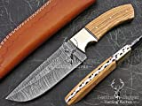 Leather-n-Dagger By Professional Custom Handmade Damascus Steel Model-Year 2015 9.25″ Hunting Knife Great Gift LD203