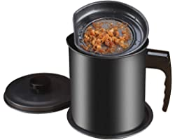 Bacon Grease Container with Strainer, Ourokhome 1.3L / 5.2 Cup Kitchen Used Cooking Oil Storage Can Grease Keeper with Fine M
