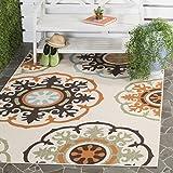 Safavieh Veranda Collection VER002-0715 Indoor/ Outdoor Cream and Terracotta Contemporary Area Rug (6'7″ x 9'6″) For Sale