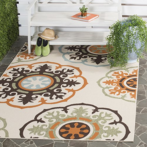 Safavieh Veranda Collection VER002-0715 Indoor/ Outdoor Cream and Terracotta Contemporary Area Rug (6'7″ x 9'6″) For Sale