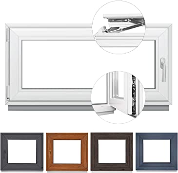 BxH: 40x50 cm DIN Rechts Fenster Kellerfenster Kunststofffenster BxH 40x50 cm 2 fach Verglasung Dreh Kipp Wei/ß Premium