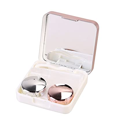 ROSENICE Contact Lens Case Mini Travel Simple Box Container Holder Eyecare kit Light Pink
