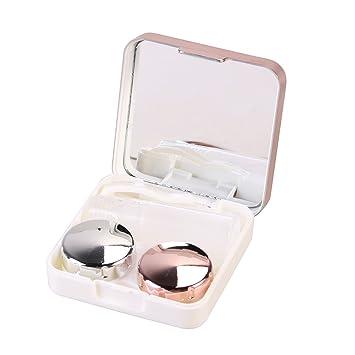 Caja de Lentes de Contacto Kit de Viaje ROSENICE Estuche Lentillas con Pinza Aplicador Palo Botella de Solución Espejo Incorporado (Rosa Claro)