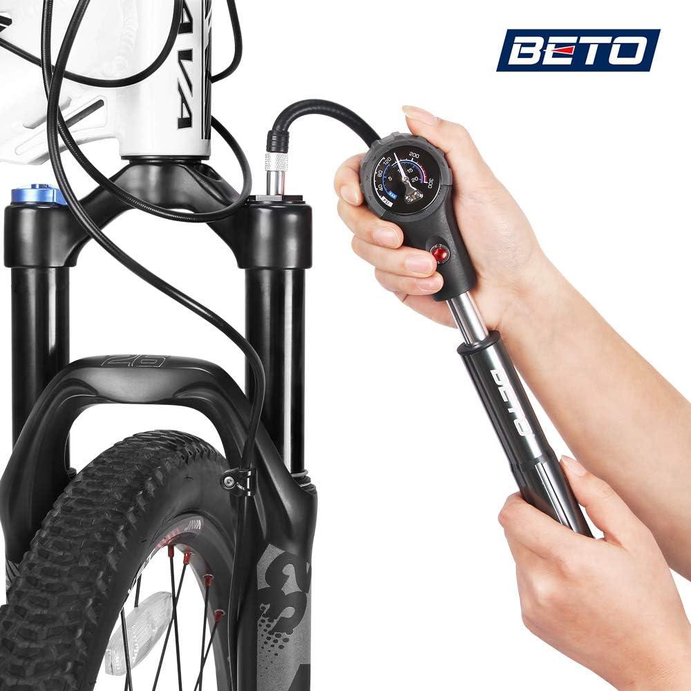 Bomba De Bicicleta 160PSI con Man/ómetro Presi/ón De Bicicleta De Monta/ña Compacta Mini Bomba Ciclismo Petdal Pump Tire Tire Medidor De Presi/ón De Aire para Bicicletas Bicicletas El/éctricas Bolas