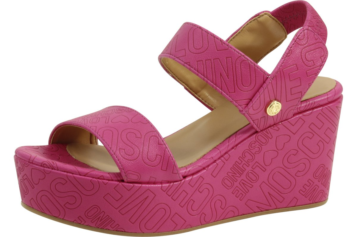 Love Moschino Women's Embossed Logo Fuchsia Wedge Heels Sandals Shoes Sz: 10