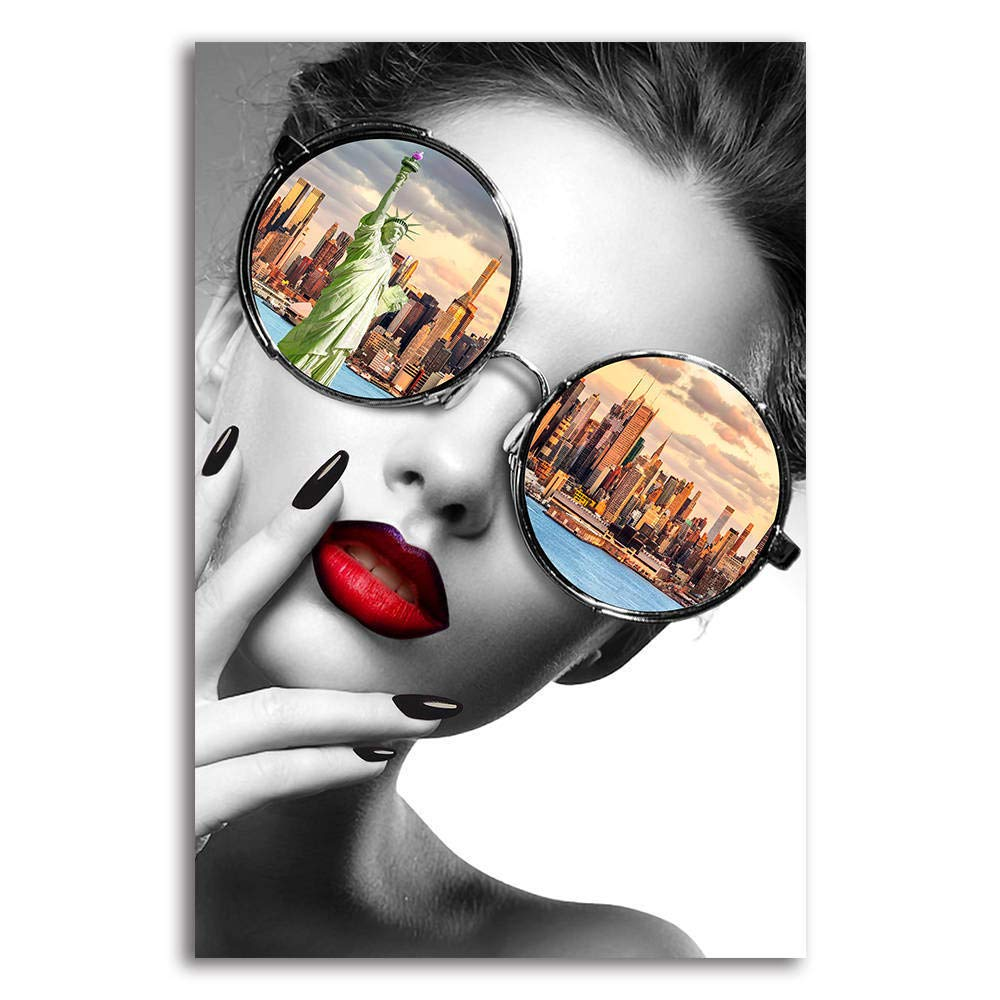 BYXART Fashion Women with Sexy Lips Canvas Wall Art Statue of Liberty Prints Painting Modern New York City Artwork Home Decoration Wall Pictures for Living Room Stretched and Framed Ready to Hang